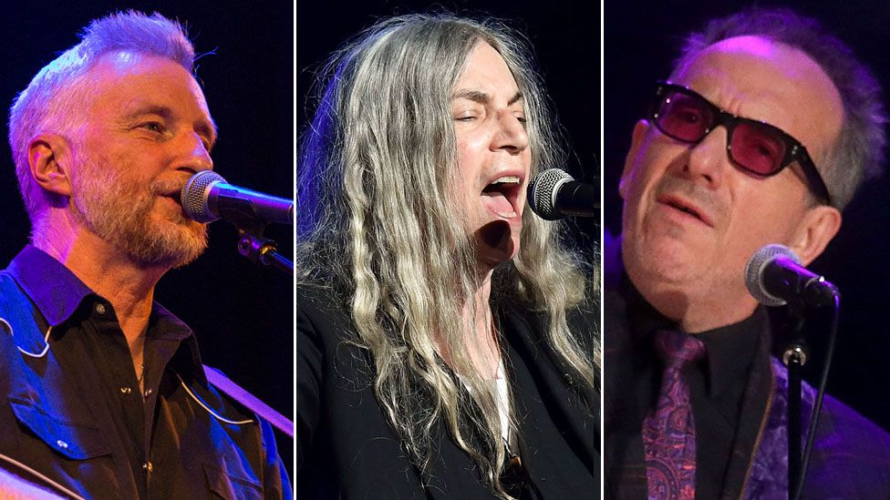 Billy Bragg, Patti Smith and Elvis Costello