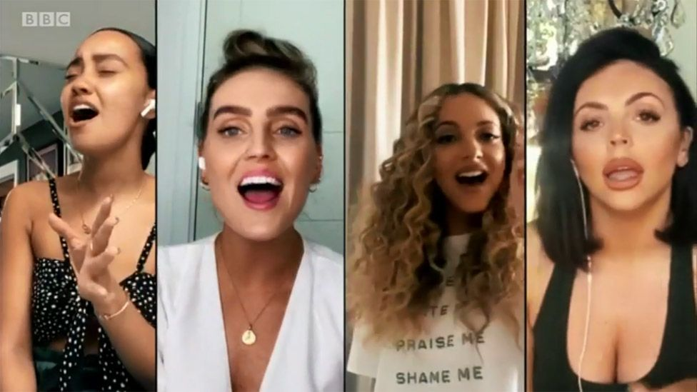 Little Mix performing on the Together At Home concert