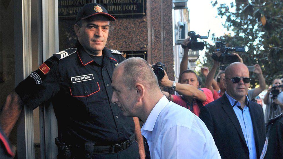 Democratic Front (DF) leader Milan Knezevic arriving in court, 6 Sep 17