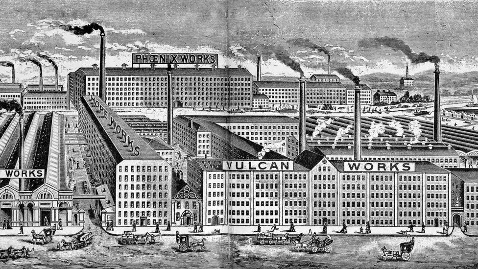 Print of Crusader Mills in the 19th Century