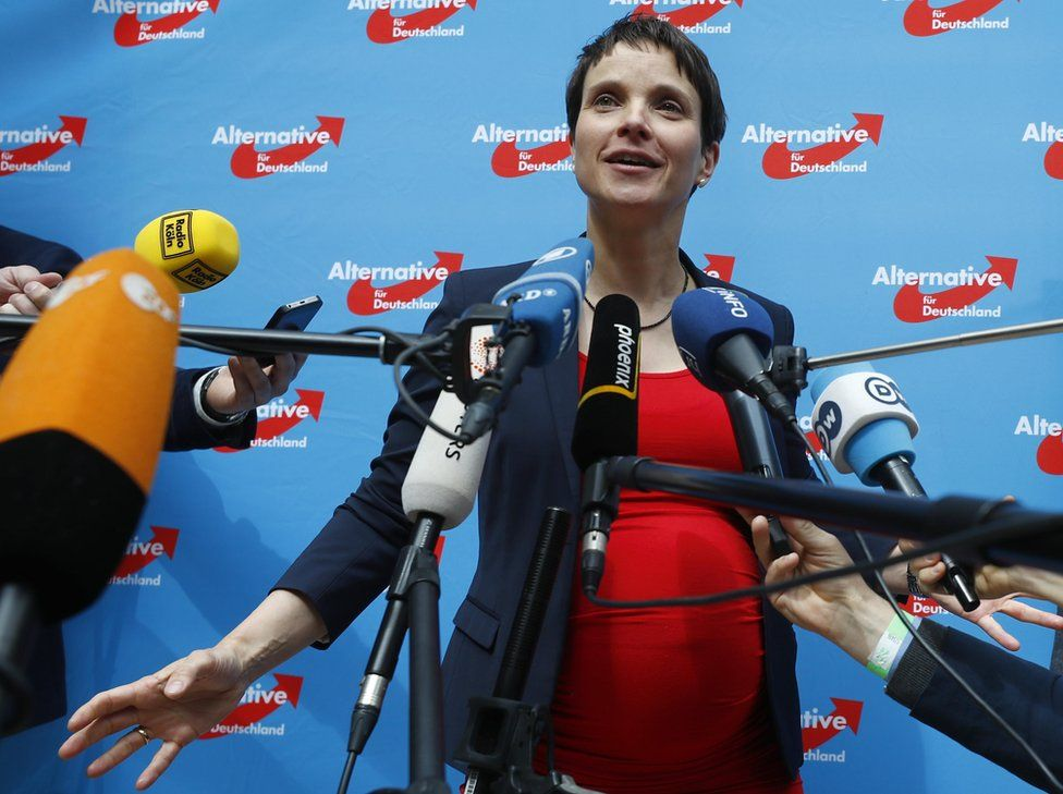 Frauke Petry, pregnant and surrounded by microphones against a backdrop of AfD logos