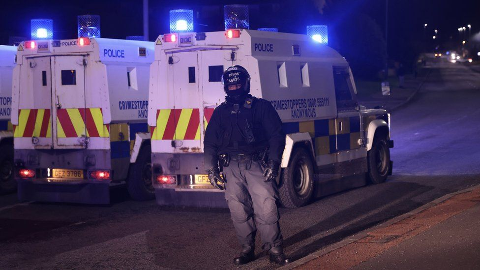 There was a police presence in Larne on Tuesday night