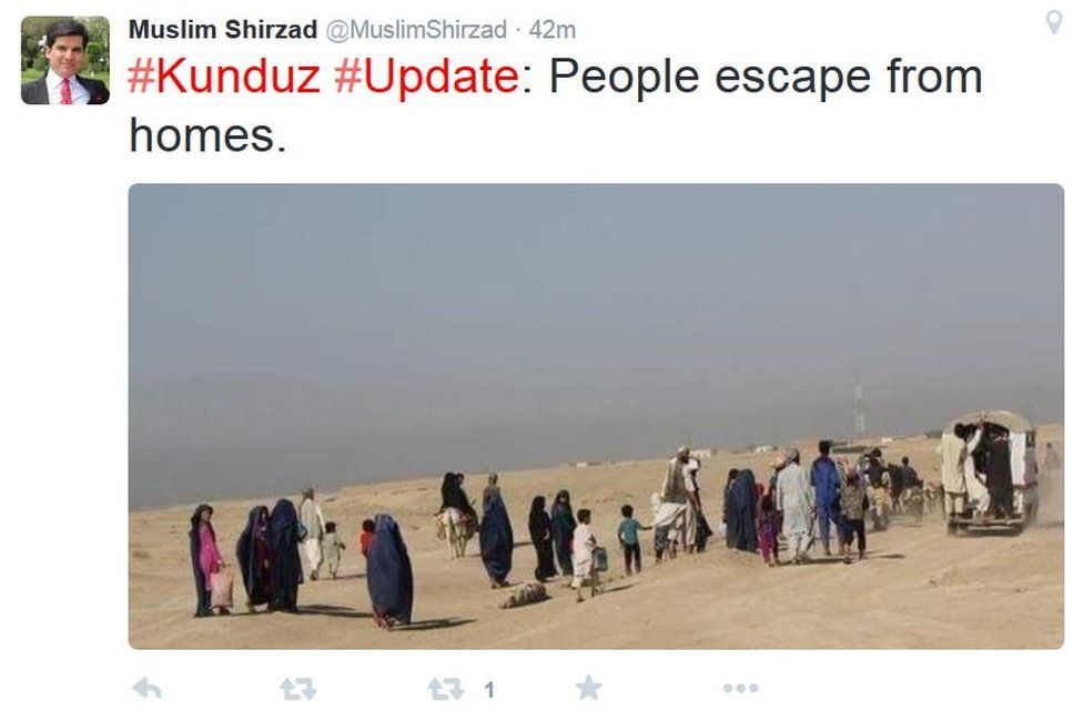 Tweet by Afghan news presenter Muslim Shirzad showing Kunduz residents fleeing