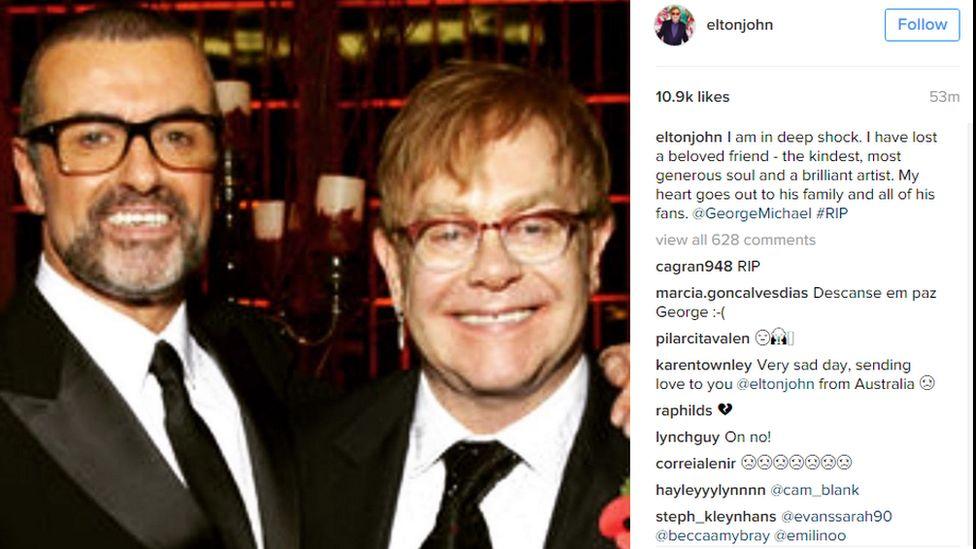 Sir Elton John's Instagram post