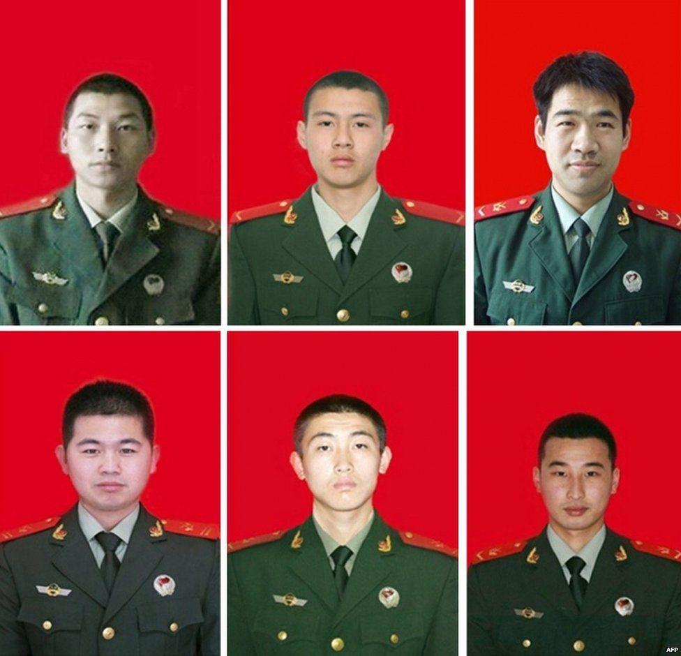 (Top L to R) Yang Gang, Yuan Hai, Shao Junqiang, and (bottom L to R) Tian Baojian, Zhen Yuhang, and Yin Yanrong who all died in the Tianjin explosions