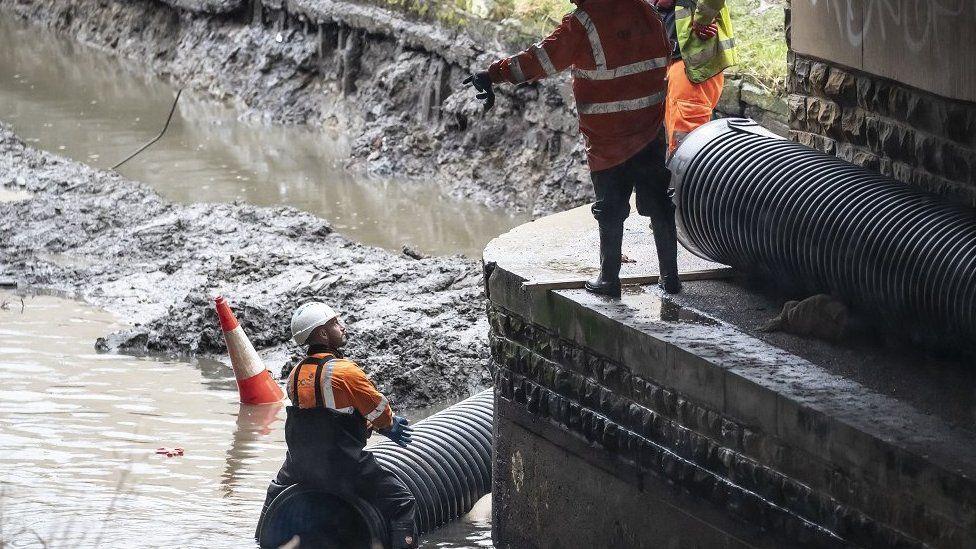 Flood defences in Mytholmroyd