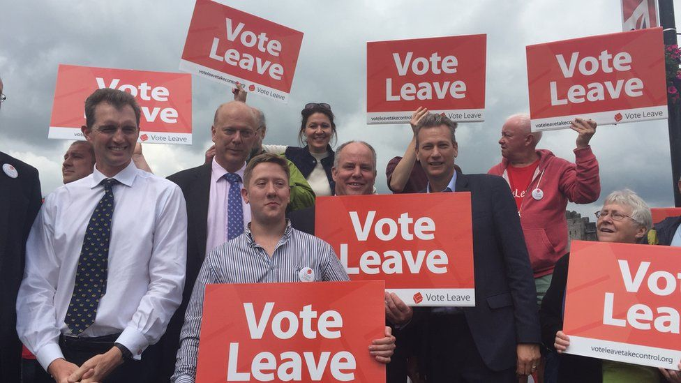 Vote Leave campaigners in Caerphilly