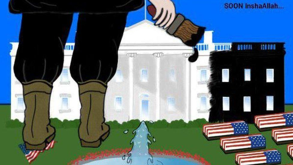 """Titled """"Soon Inshallah"""" - or """"soon God willing"""" - this cartoon shows an IS soldier painting the US White House black. Coffins draped in the US flag line the lawn. Cartoon images like these are more difficult for social media sites to pull down as they are not alerted to them as quickly as violent photographs."""