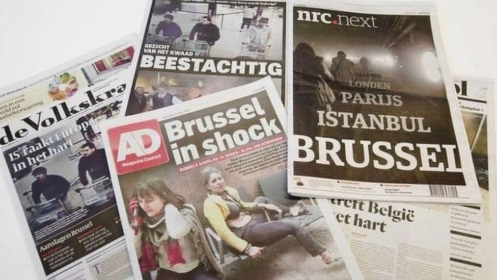 Newspaper reports of Brussels attacks