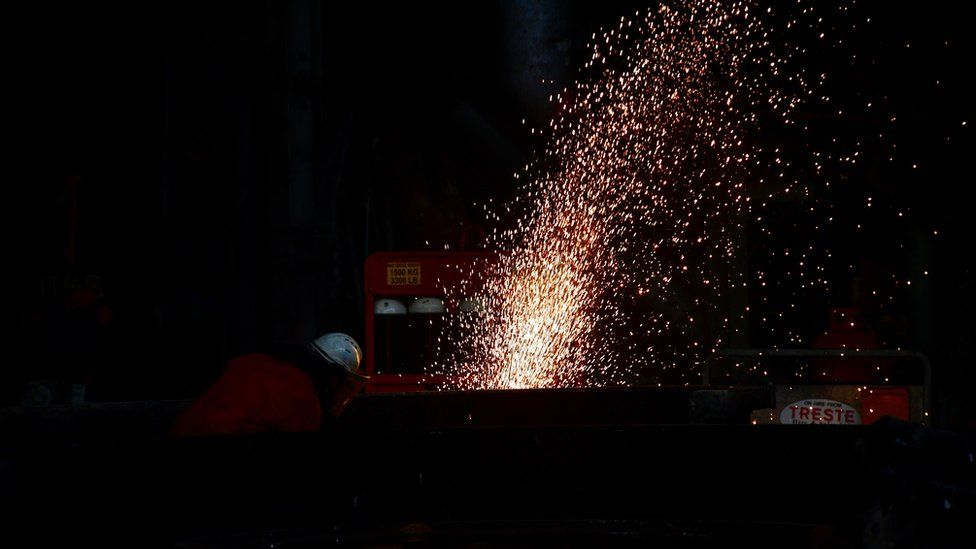 Oxy-acetylene cutting equipment in use