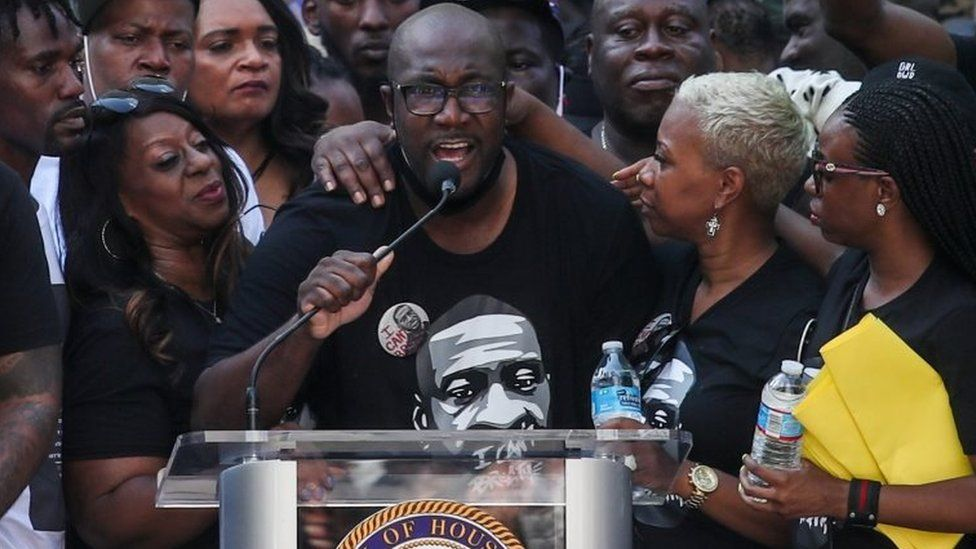 Philonese Floyd, George's brother, addresses a rally in Houston, 2 May 2020