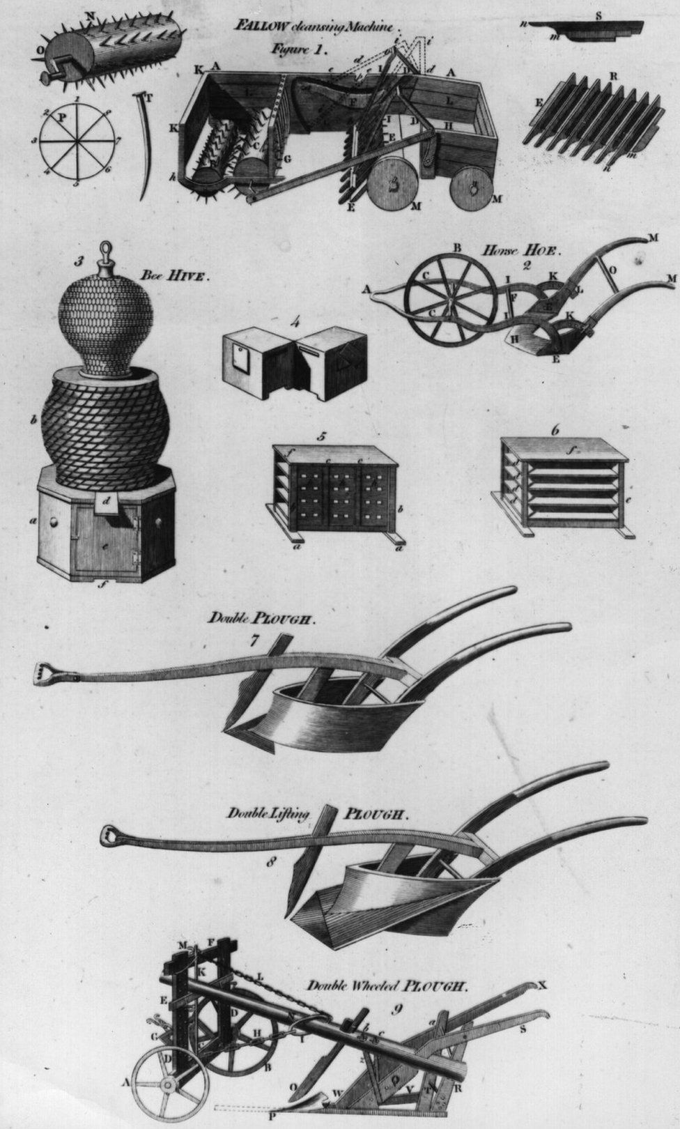 Technical drawing of machinery and equipment used in agriculture and husbandry, circa 1830