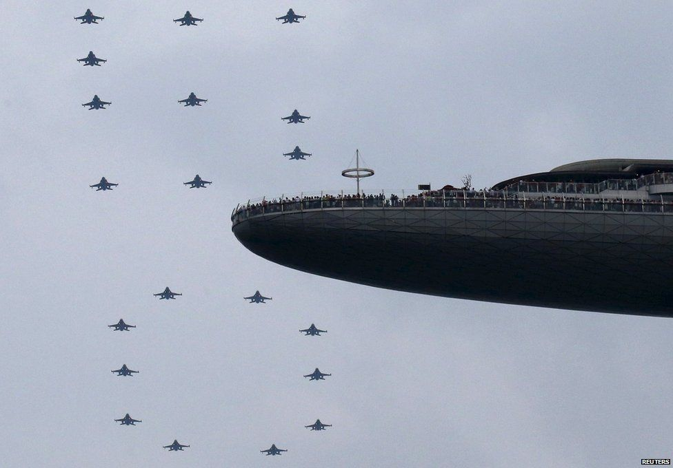 Singapore's air-force forms a 50 shape to mark independence day