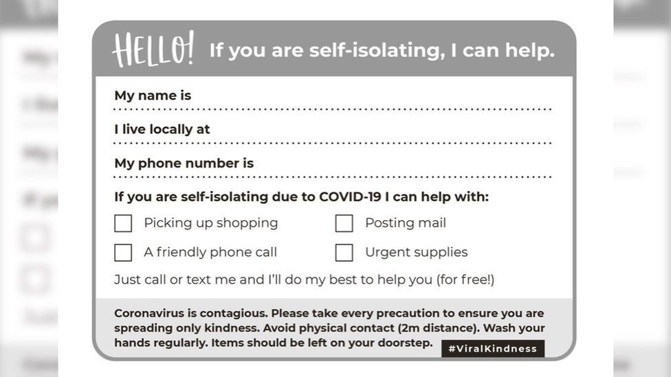 Postcard reads: Hello! If you are self-isolating, I can help.