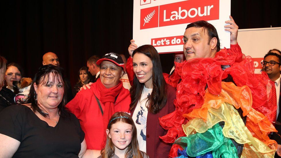 Jacinda Ardern with political supporters