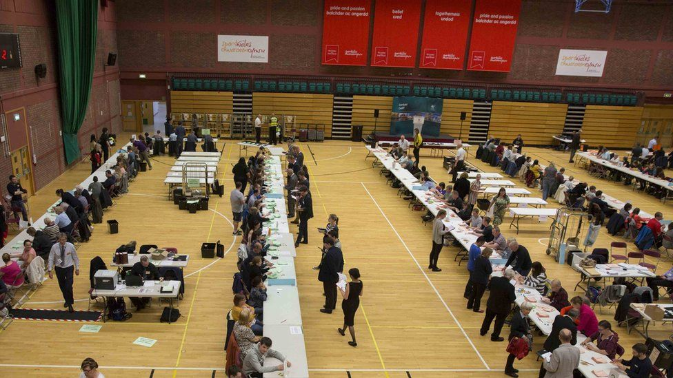 votes being counted in hall