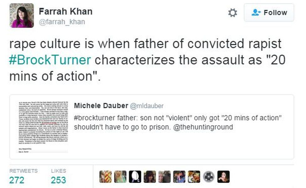 """Screen grab from Twitter user Farrah Khan reads: """"Rape culture is when father of convicted rapist #BrockTurner characterizes the assault as '20 mins of action'"""""""