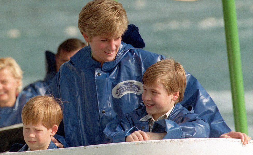 Princess Diana with Prince William (right) and Prince Harry