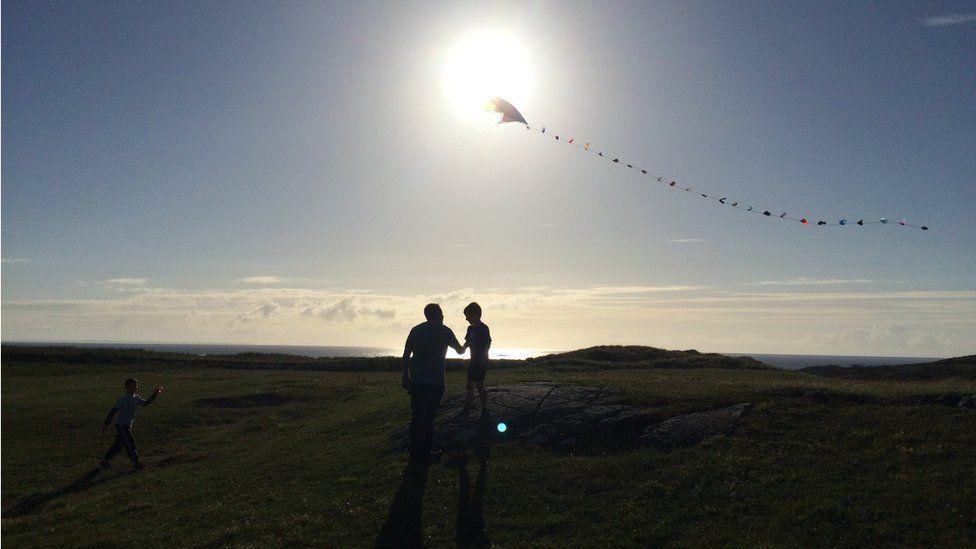 Kite-flying in Sanna Bay, Ardnamurchan