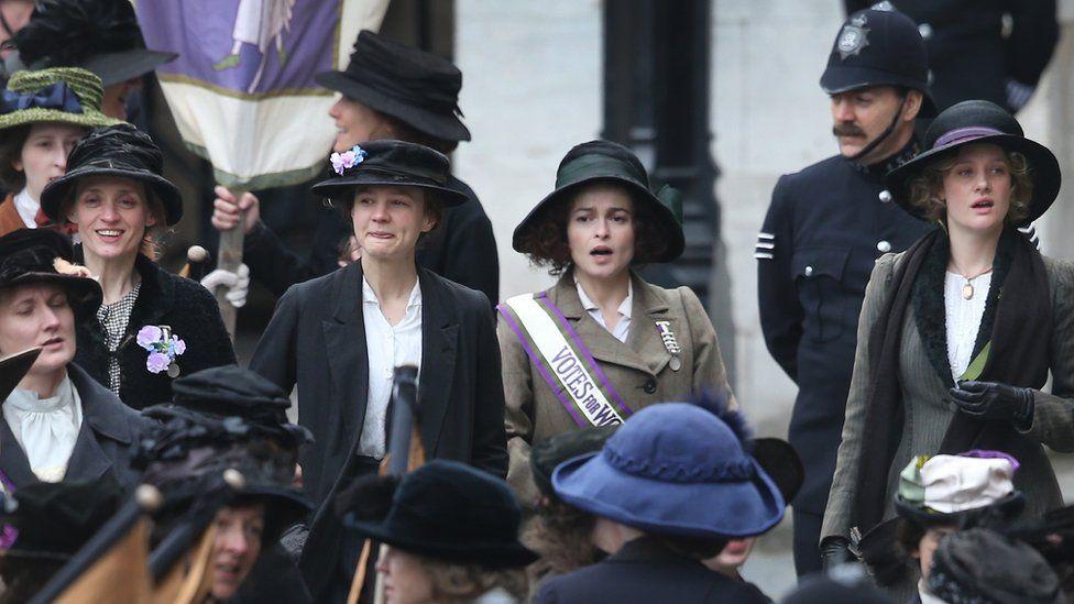 (L-R) Anne-Marie Duff, Carey Mulligan, Helena Bonham Carter and Romola Garai filming Suffragette at Parliament