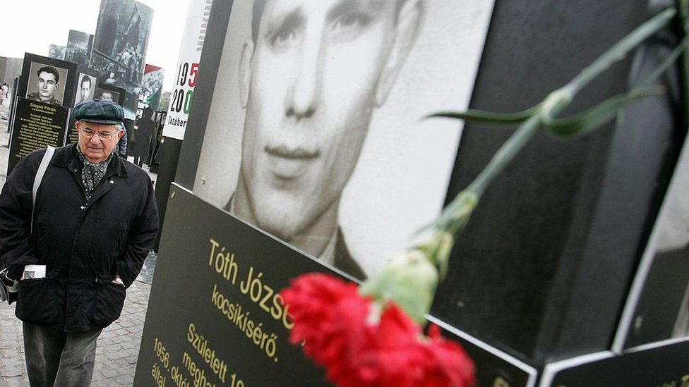 Open-air portraits of the 1956 Hungarian revolution victims in Budapest