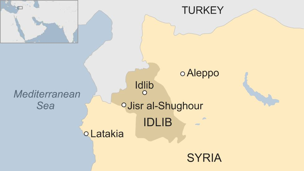 Map of Syria showing Idlib province and Jisr al-Shughour