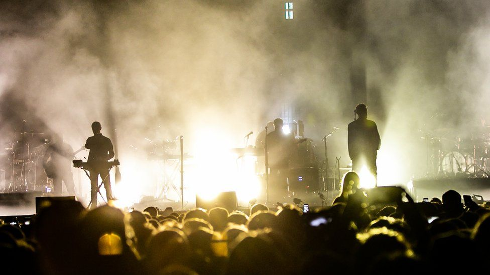 Massive Attack playing concert in Bristol