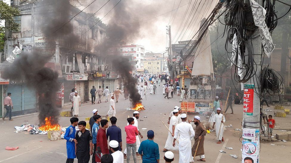 Riots in the district of Brahmanbaria in eastern Bangladesh