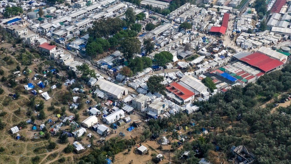 The Moria migrant camp, where thousands of people are living in cramped conditions