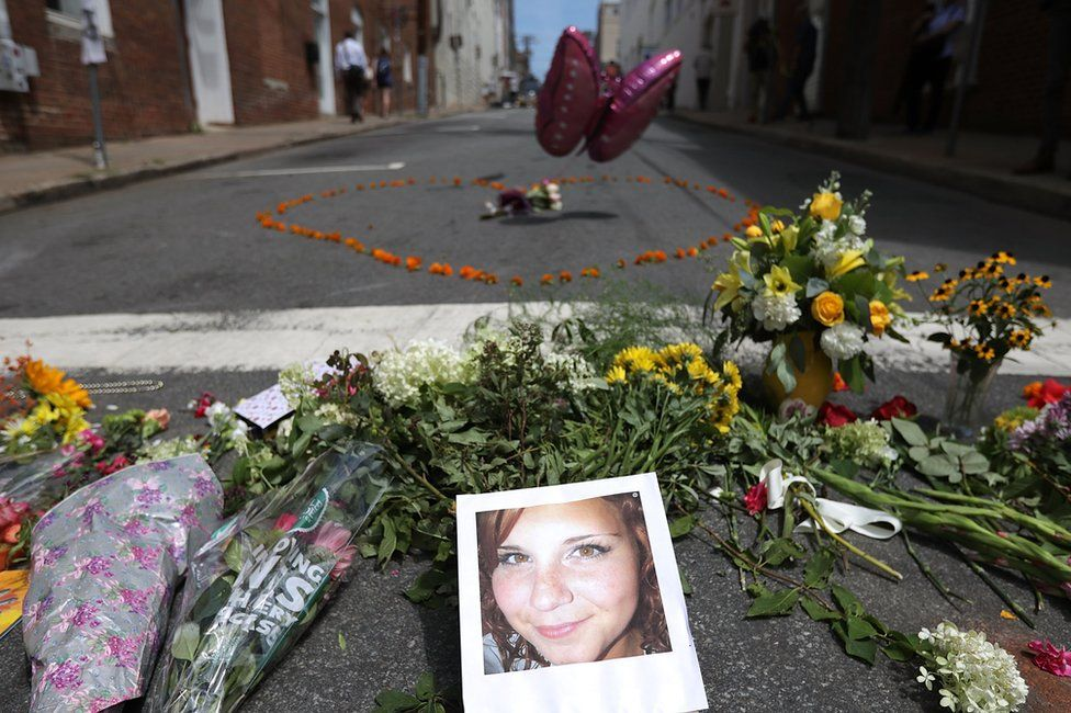 A memorial to Heather Heyer at the place where she died