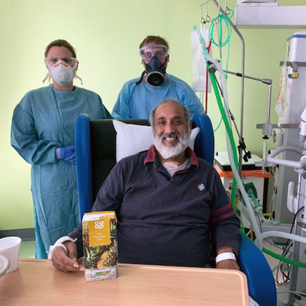 Mohammed with doctors and pineapple juice
