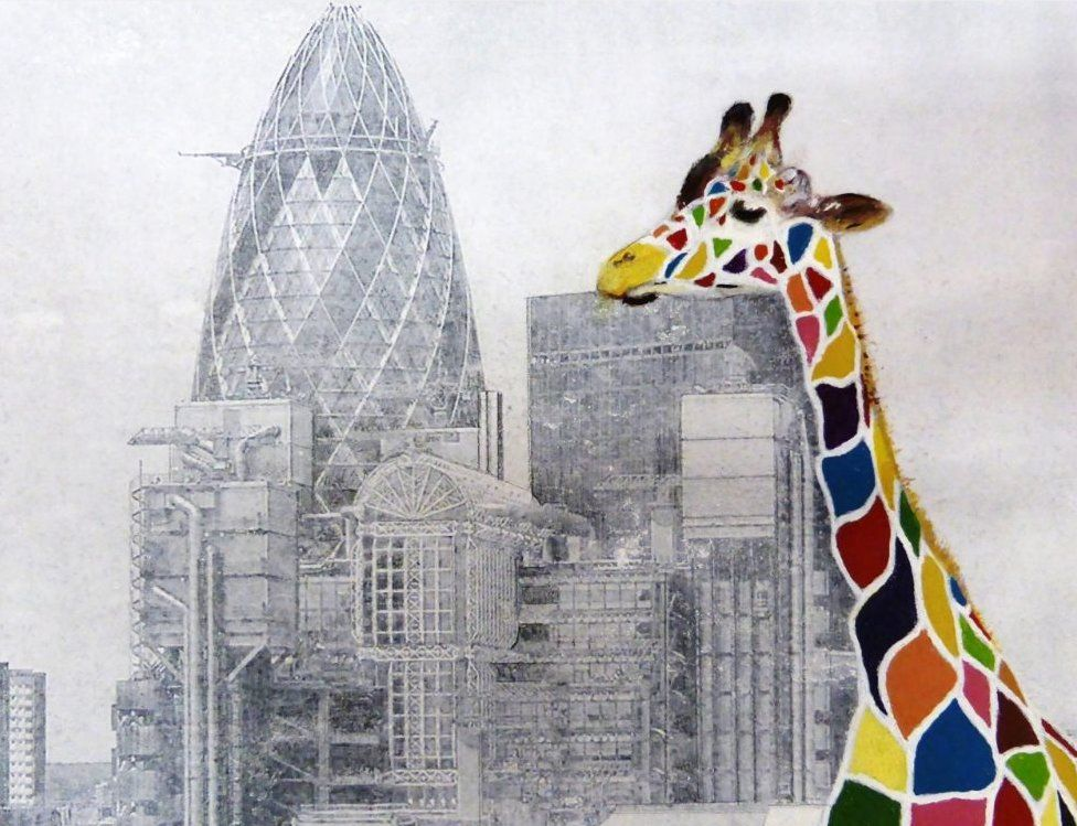 Colourful giraffe towering over the City of London