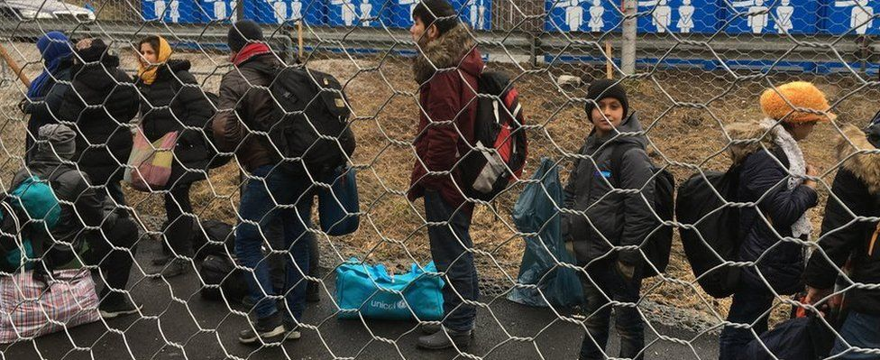 Migrants arrive at Spielfeld on the Austrian border in February 2016