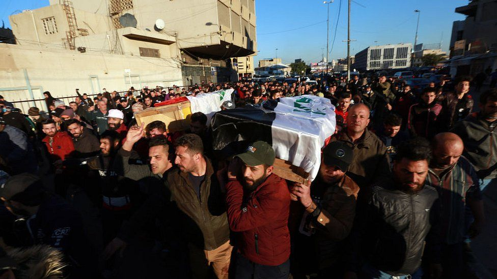 Crowds attend funeral ceremonies of those who lost their lives during twin suicide bombing attack at al-Tayaran Square in Baghdad, Iraq on January 21, 2021