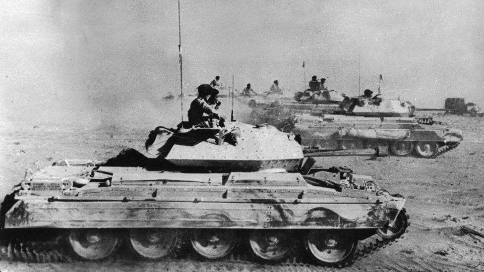 British tanks in pursuit of German forces in Libya