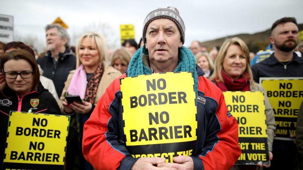 Protesters at the Irish border near Killeen