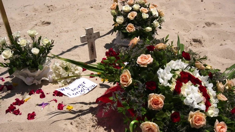 Flowers left at the Sousse beach