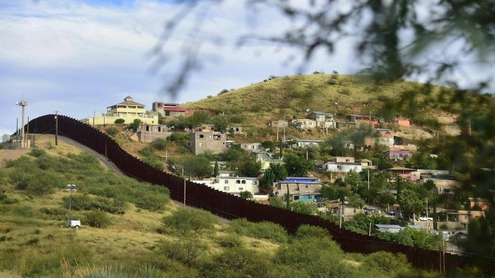 The residential neighbourhood of Nogales in the state of Sonora on the Mexico side of the border is seen across the border wall from Nogales, Arizona