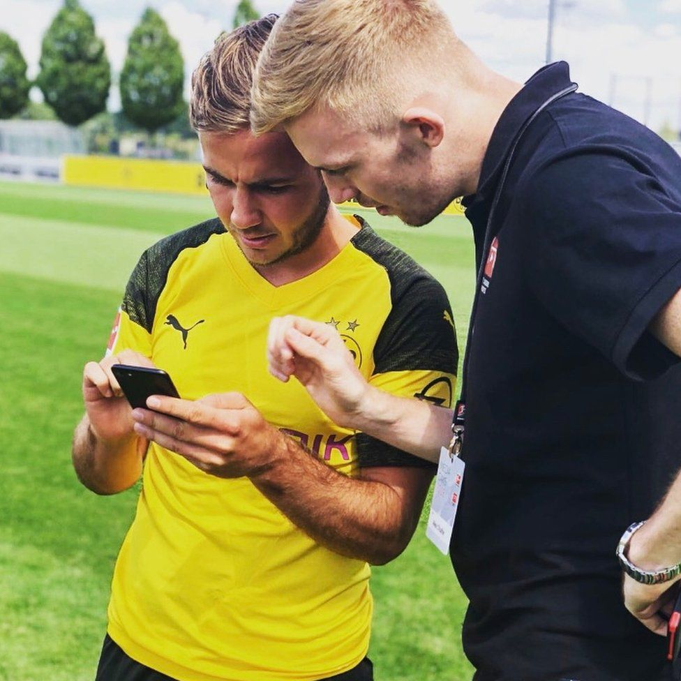 Alex Chaffer with German footballer Mario Götze, who scored the winning goal in the 2014 World Cup final