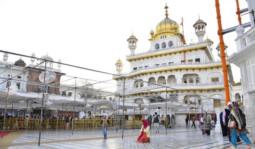Low footfall of devotees seen at Golden Temple due to the spread of coronavirus (COVID-19) on March 17, 2020 in Amritsar, India.