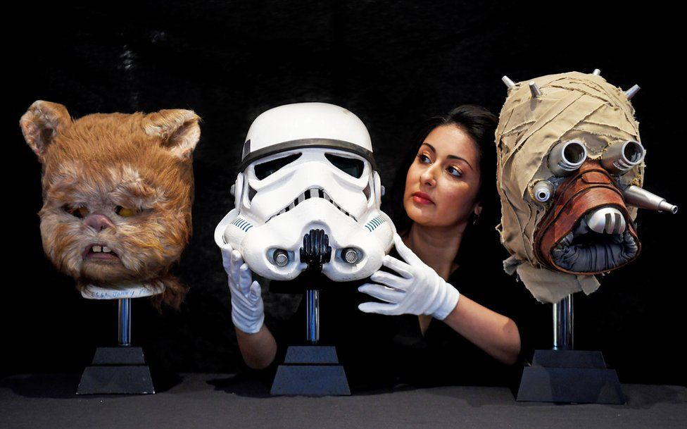 Helmets and props from Star Wars films