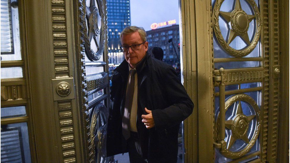 Austrian ambassador to Russia Johannes Aigner enters the Russian Foreign Ministry headquarters in Moscow on November 9, 2018.