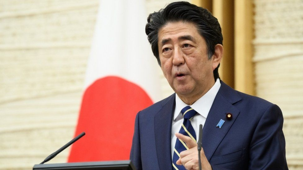 Japanese Prime Minister Shinzo Abe speaks during a press conference at the PM's office in Tokyo on 14 May, 2020