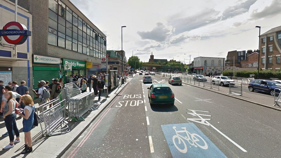 The dual carriageway outside Mile End tube station in east London
