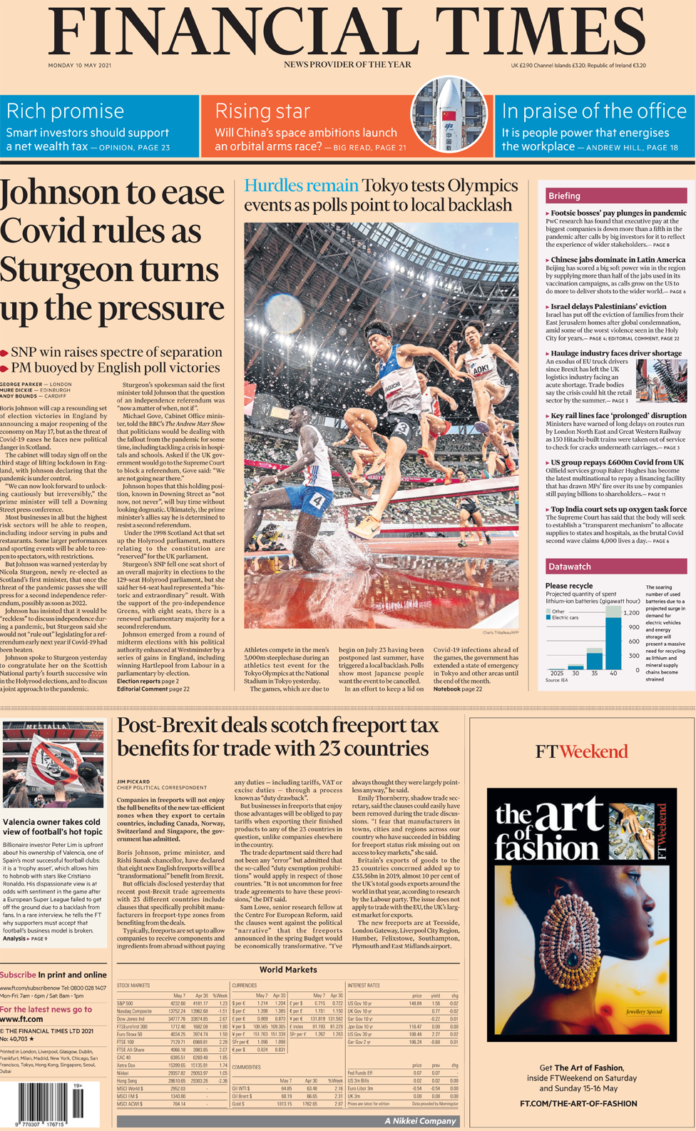 The Financial Times front page 10 May 2021