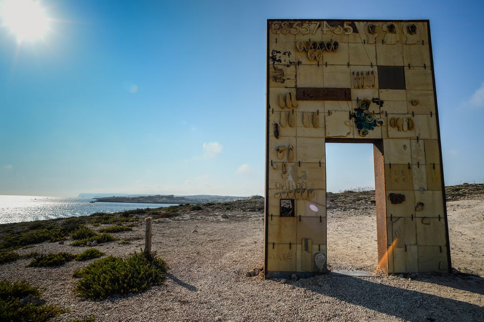 The Gate of Europe, a monument which pays tribute to migrants arriving on the Italian island of Lampedusa