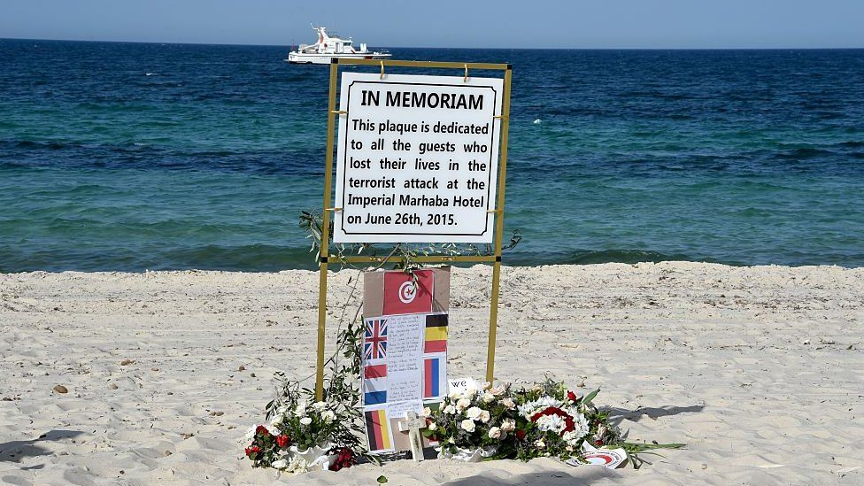 Memorial plaque on beach at Sousse