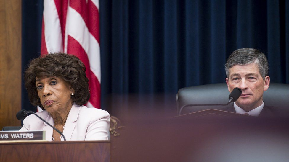 Ranking Member Maxine Waters (D-CA) and commitee Chairman Jeb Hensarling (R-TX) looks on as Federal Reserve Board Chairwoman Janet Yellen testifies before the House Financial Committee about the State of the economy on July 12, 2017 in Washington, DC.