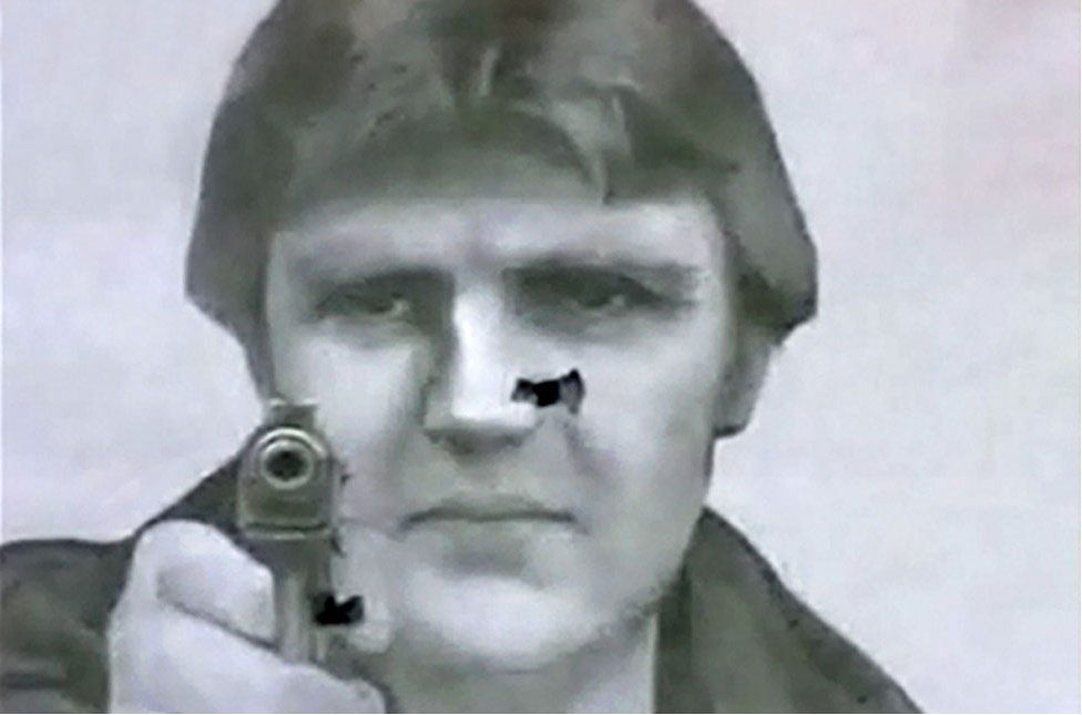 A portrait of Alexander Litvinenko used for target practice in a Moscow shooting club
