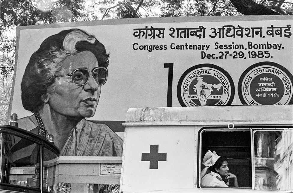 A poster of former Prime Minister Indira Gandhi during the Congress party's centenary celebrations, 1985